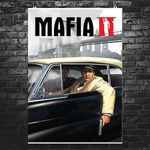 """Постер """"Мафия 2. Двое в машине"""". Mafia II. Размер 60x43см (A2). Глянцевая бумага"""
