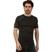 Компрессионная мужская футболка с коротким рукавом LD-1103-B размер L-3XL черный-синий