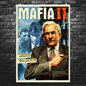 "Постер ""Мафия 2. Leone Galante с сигарой"". Mafia II. Размер 60x42см (A2). Глянцевая бумага"