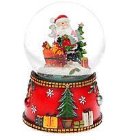 """Новогодний снежный шар  """"Санта Клаус с подарками"""" водяной шар с летящим снегом и музыкой на батарейках,"""