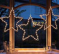 Гирлянда Мотив Звезда тепло-белая 30 см, работает от батареек, 136 led, новогодний декор, светящийся верхушка