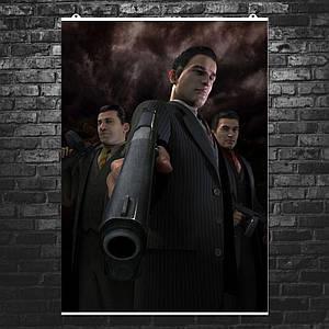 """Постер """"Мафия 2. Вито и пистолет крупным планом"""". Mafia II. Размер 60x43см (A2). Глянцевая бумага"""