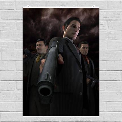 """Постер """"Мафия 2. Вито и пистолет крупным планом"""". Mafia II. Размер 60x43см (A2). Глянцевая бумага, фото 2"""