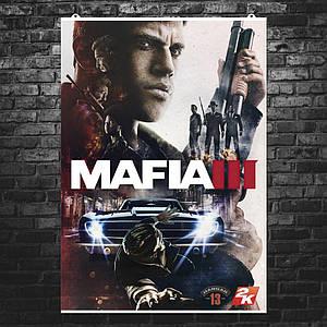 """Постер """"Mafia 3. Главный герой"""". Мафия III, коллаж. Размер 60x42см (A2). Глянцевая бумага"""