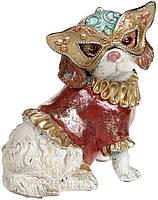 """Декоративная статуэтка """"Собачка на маскараде"""" 14.5х12х17.5см, в красном костюмчике"""