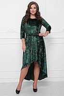 Бархатное вечернее платье ассиметричного покроя   изумрудного цвета