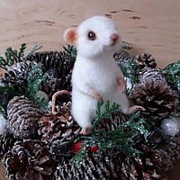 Мышка мышь валяние из шерсти Новый год подарок