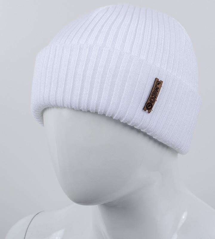 Молодежная шапка с отворотом, (Белый)