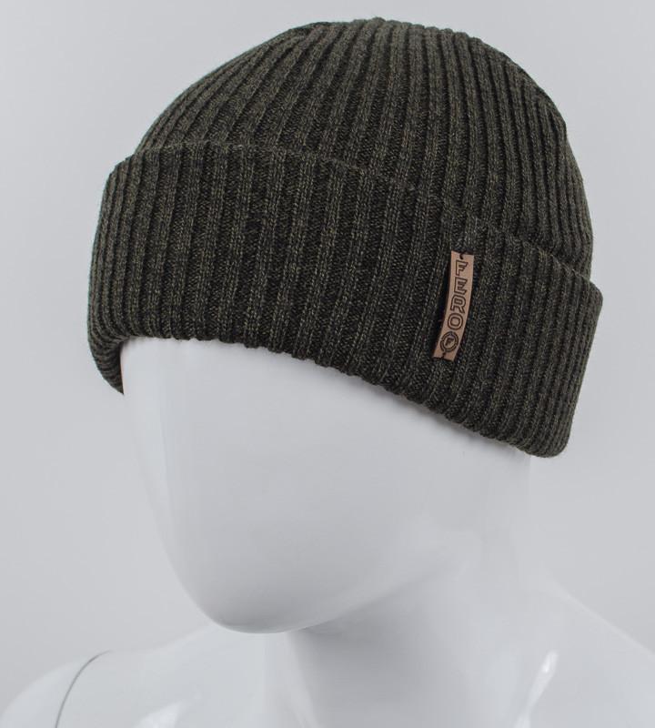 Молодежная шапка с отворотом, (Меланж хаки)