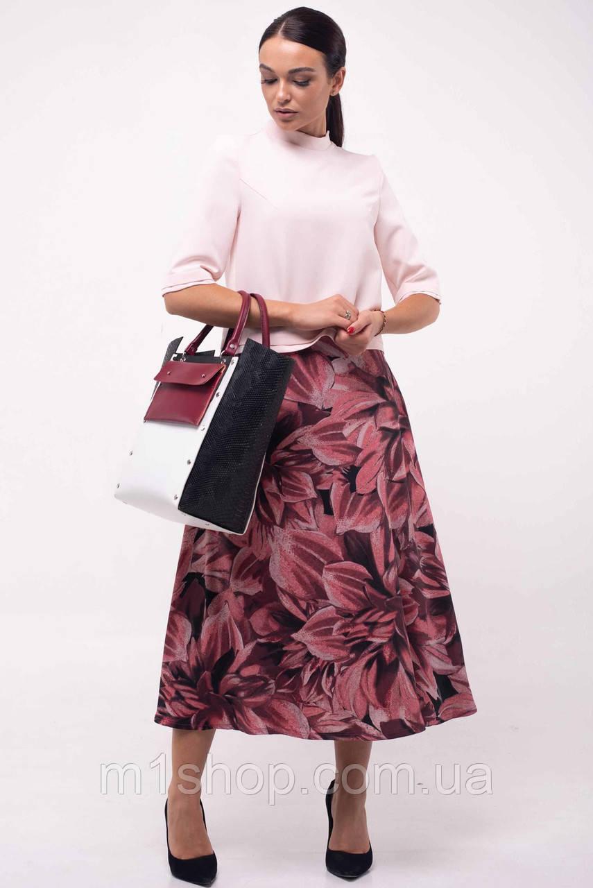 Женский костюм с юбкой-миди и блузкой (Юка ri)