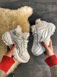 Женские кроссовки зимние Buffalo London White Fur (мех) (белые)