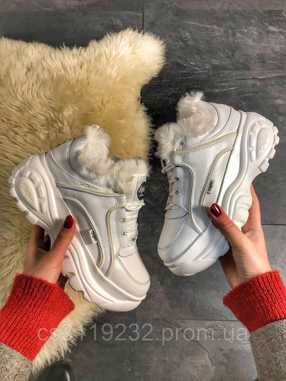 Женские кроссовки зимние Buffalo London Нigh (мех) (белые)