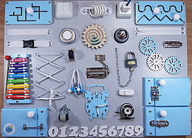 Бизиборд BusyBliss Сіро-блакитний 60х80 см
