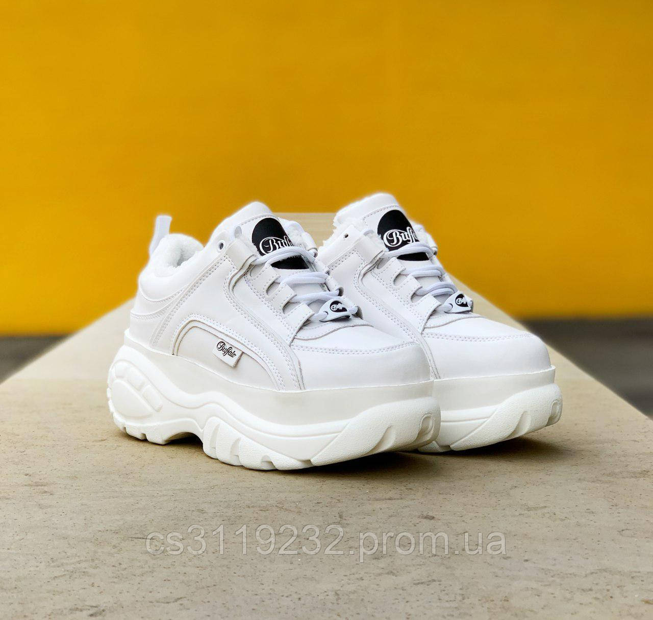 Жіночі кросівки зимові Buffalo London Нідһ (хутро) (білі)