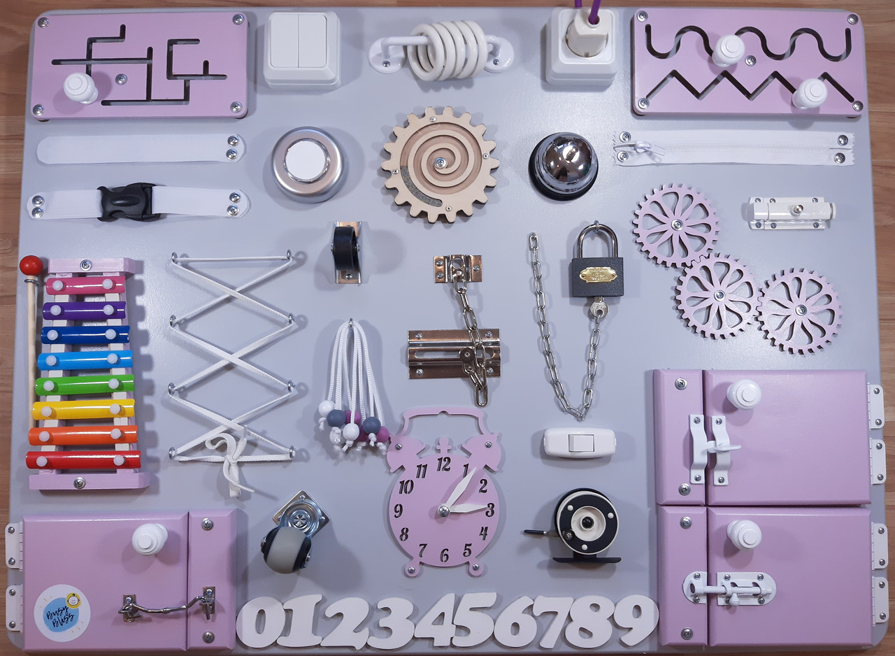 Бизиборд BusyBliss Серо-фиолетовый 60х80 см