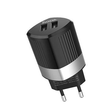 Мережевий зарядний пристрій HOCO C55A Energy Power 2,4 A / 2 USB-порт (Чорний), фото 2