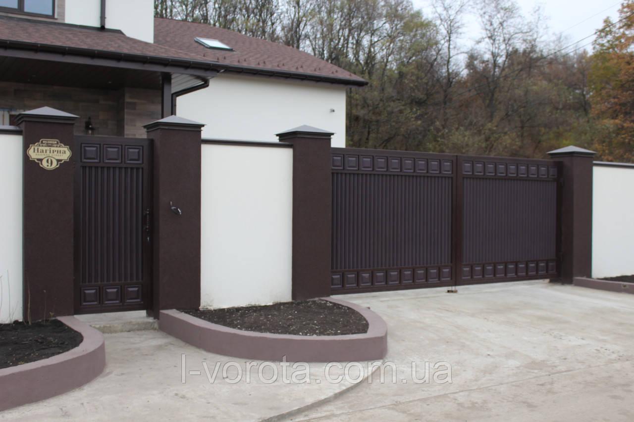 Ворота распашные 4000×2000 и калитка 1000×2000  ТМ Хардвик (дизайн ЛЮКС)