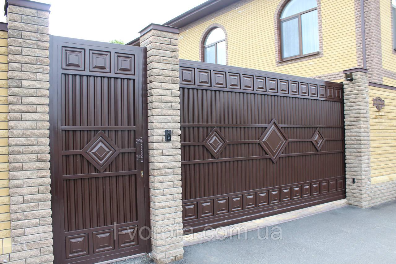 Ворота раздвижные ТМ HARDWICK 4000×2000 и калитка 1000×2000 (дизайн Люкс)