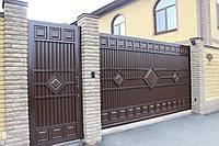 Сдвижные ворота ТМ HARDWICK 4000×2000 и калитка 1000×2000 (дизайн Люкс)