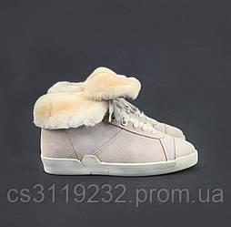 Женские ботинки зимние CHANEL Trainers Shearling Lambskin Pink  (мех) (бежевый)