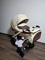Детская коляска 2-в-1 Lumi (Люми эко-кожа) на пластиковой корзине d59 -беж