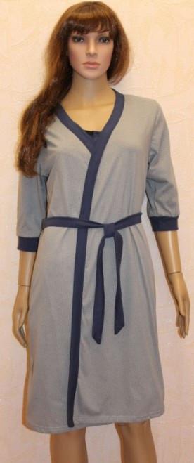 Ночная сорочка с планкой на резинке и серым халатом для кормящих мам 44-54 р
