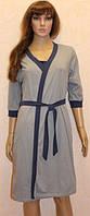Ночная сорочка с планкой на резинке и серым халатом для кормящих мам 44-54 р, фото 1