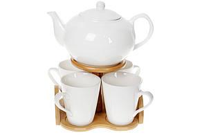 Чайний фарфоровий набір Naturel: заварювальний чайник (1200мл) і 4 гуртки (300мл) на бамбуковій підставці,375-385