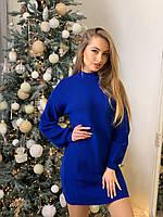 Женское теплое зимнее вязаное платье