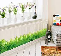 Декоративная  наклейка зеленая трава  (132х26см)