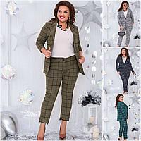Р 48-60 Кашемировый клетчатый костюм пиджак с брюками Батал 20777