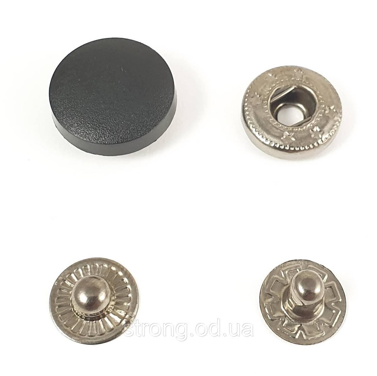Кнопка Альфа 17мм Пластиковая шляпка Черная К (50шт.)