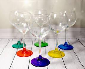 Набор бокалов для вина на цветных ножках ОСЗ 6 шт, 210 мл (8365)