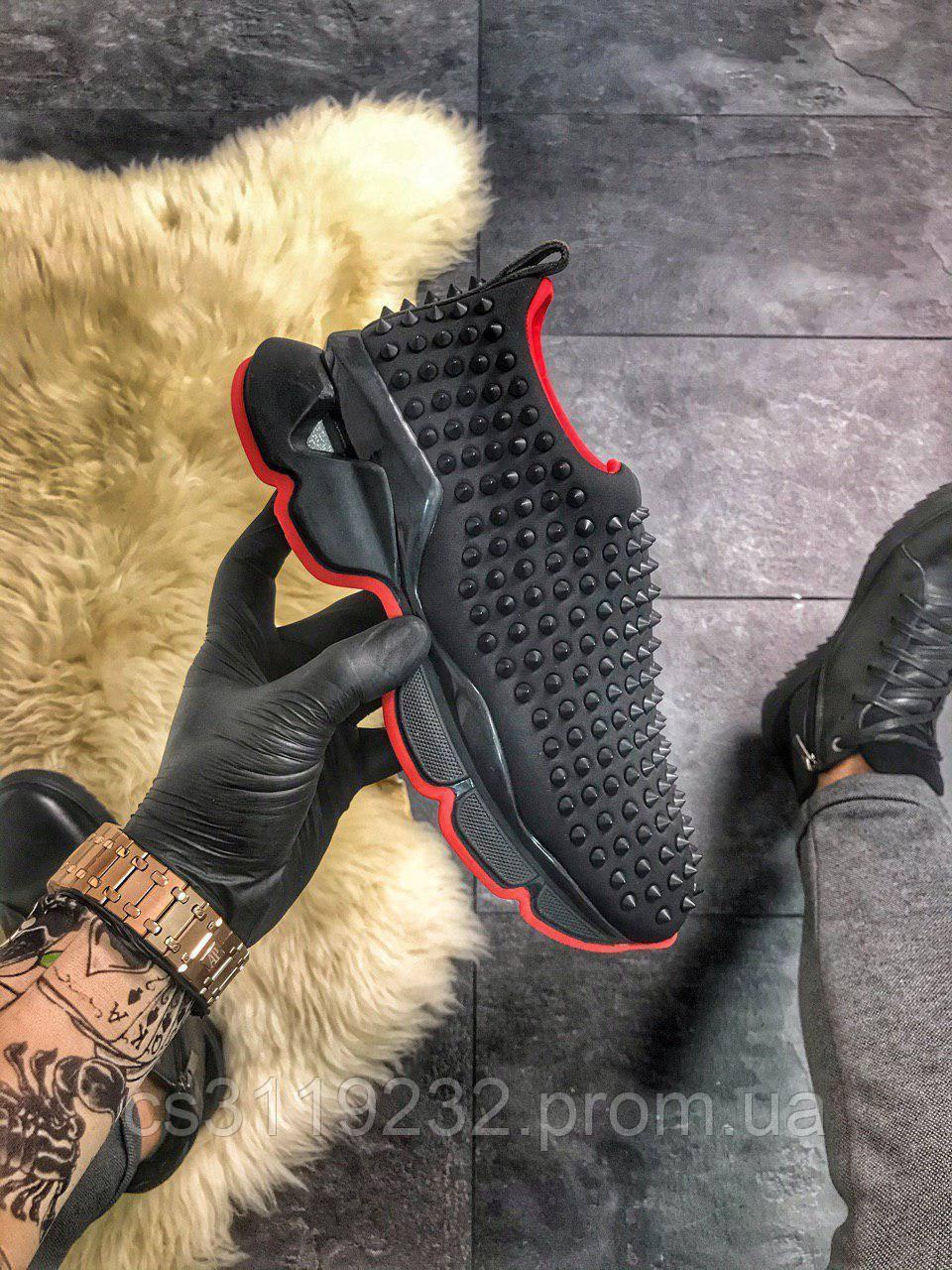 Женские кроссовки Christian Louboutin Black Red (черные-красные)