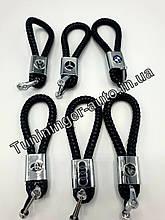 Брелок кожаный с логотипом, плетеный, черный + карабин для ключей
