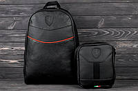 Рюкзак кожаный в стиле Puma Ferrari X black-red