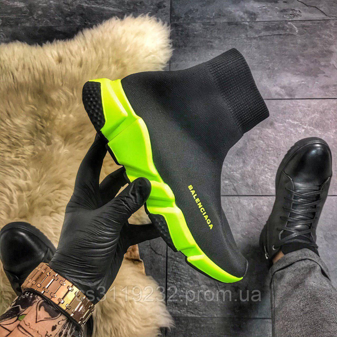 Женские кроссовки Balenciaga Speed Black Green (черные)