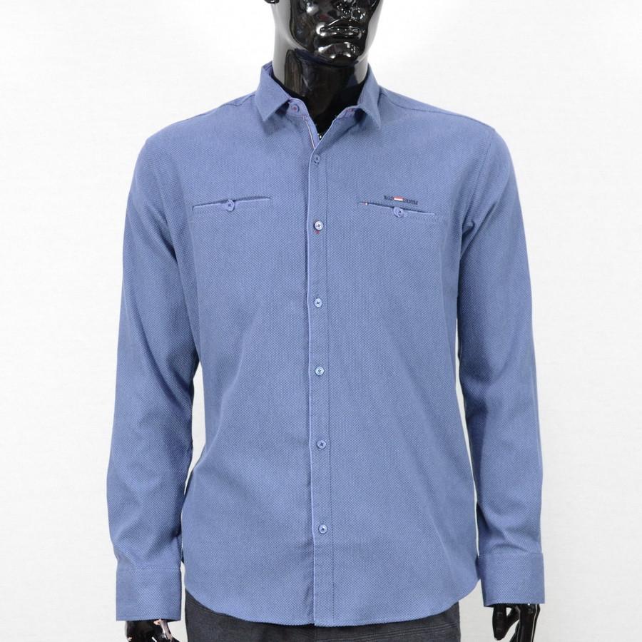 Сорочка чоловіча, приталена (Slim Fit), з довгим рукавом Bagarda BG6616-02 INIGO 93% бавовна 7% еластан L(Р)