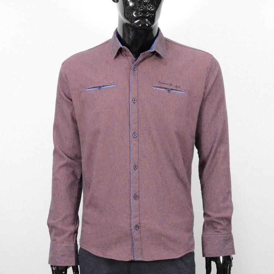 Сорочка чоловіча, приталена (Slim Fit), з довгим рукавом Bagarda JP2721 NAVY-ORANGE 93% бавовна 7% еластан