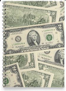 Блокнот Тетрадь 2 Доллара, Деньги