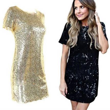 Платье с пайетками на подкладке основа трикотаж два цвета черный и золотой, фото 2