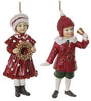 Ялинкова прикраса хлопчик з дзвіночком/ дівчинка з вінком мікс червоно-зелені 11см