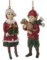 Ялинкова прикраса хлопчик з собакою/ дівчинка з подарунком мікс червоно-зелені 11см