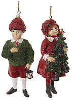 Ялинкова прикраса хлопчик з ліхтарем/ дівчинка з ялинкою мікс червоно-зелені 11см