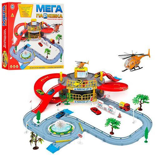 Игровой набор Мега парковка 922-9 2 этажа машинка вертолет дорожные знаки дерево 2 шт