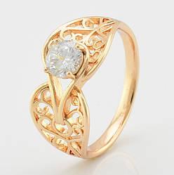 Кольцо Xuping 14007 размер 18 ширина 12 мм вес 2.8 г белые фианиты позолота 18К