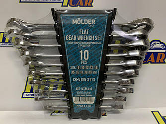 Набор ключей комбинированных MOLDER CR-V с трещоткой (10 шт) 8-19 мм MT56110