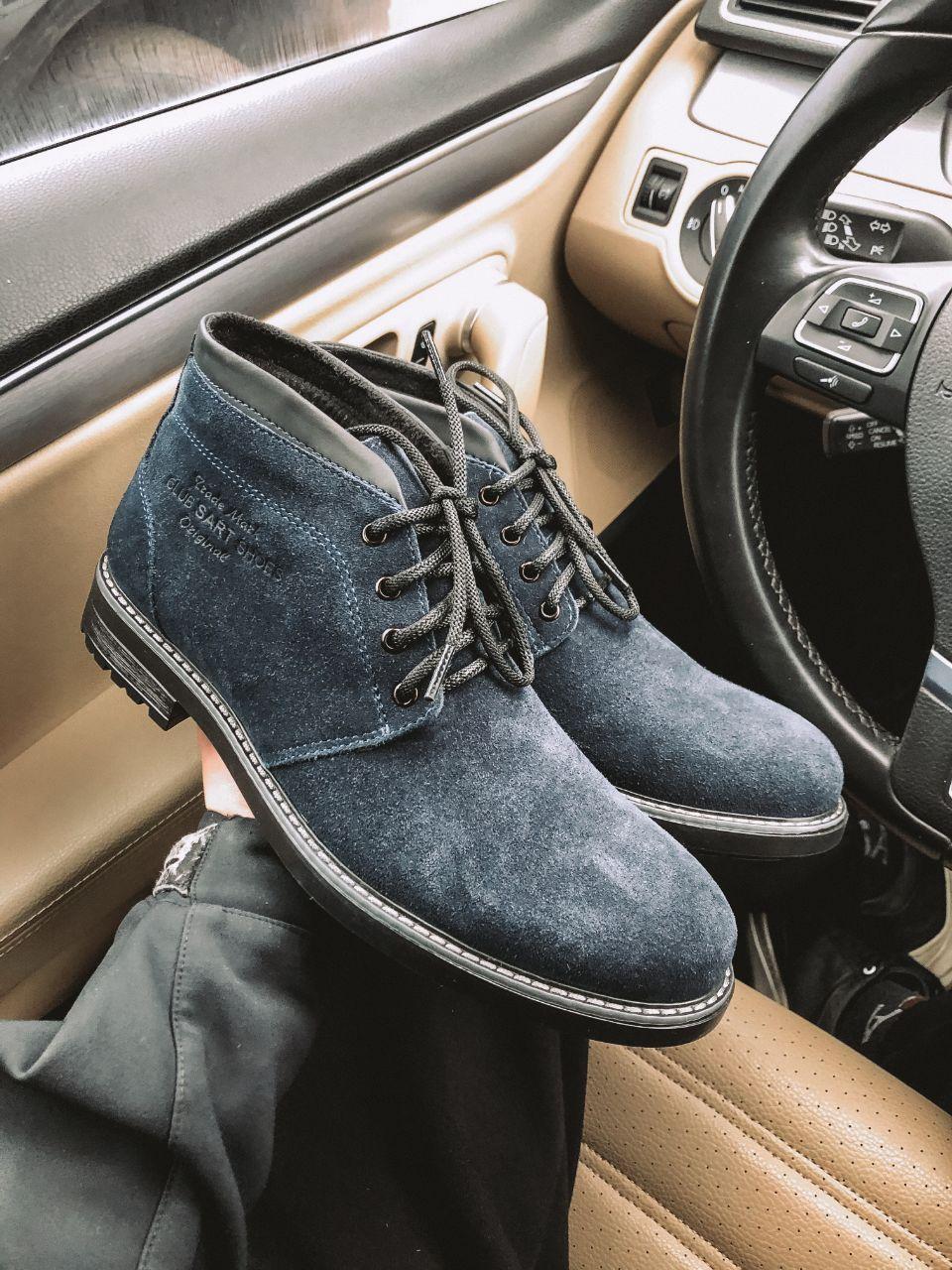 Мужские зимние ботинки серые замша Lg8