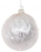Скляна куля з інеєм сріблясто-біла 8см