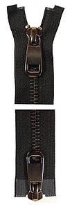 Молния YKK Metal Zipper Standard | 100 см | Тип 5 | 2 бегунка | разъемная | Блестящий оксид